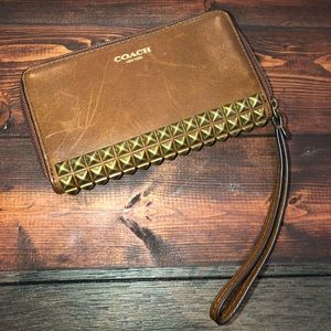 Coach Leather Studded Wristlet